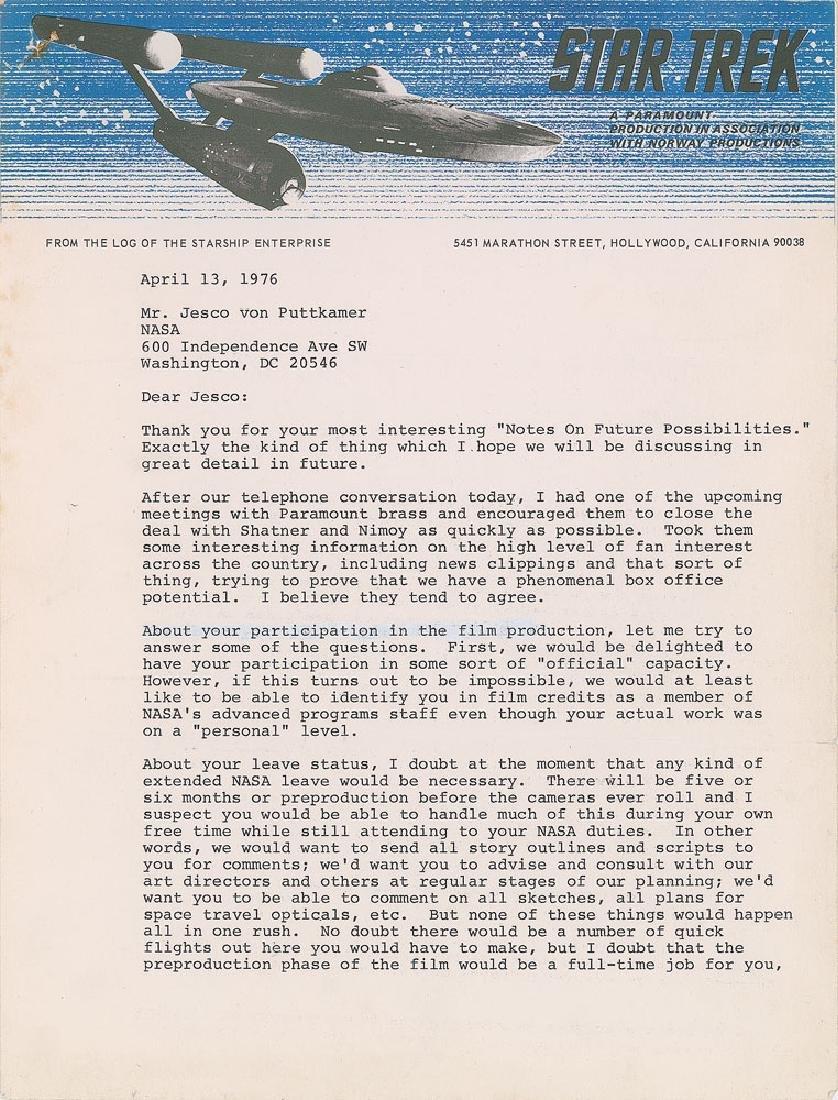 Gene Roddenberry Typed Letter Signed
