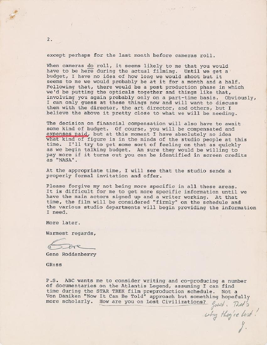 Gene Roddenberry Typed Letter Signed - 2