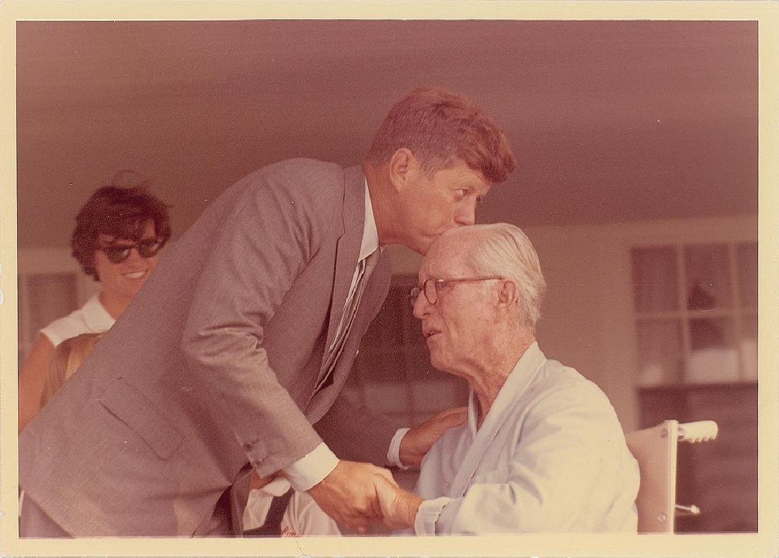 John F. Kennedy and Joseph P. Kennedy Original Vintage Photograph by Cecil Stoughton