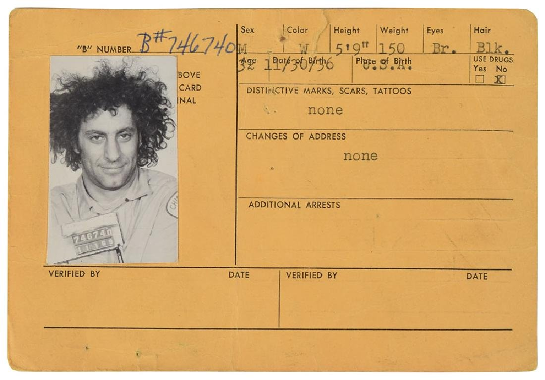 Abbie Hoffman 1969 Criminal Card