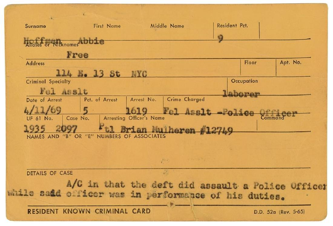 Abbie Hoffman 1969 Criminal Card - 2