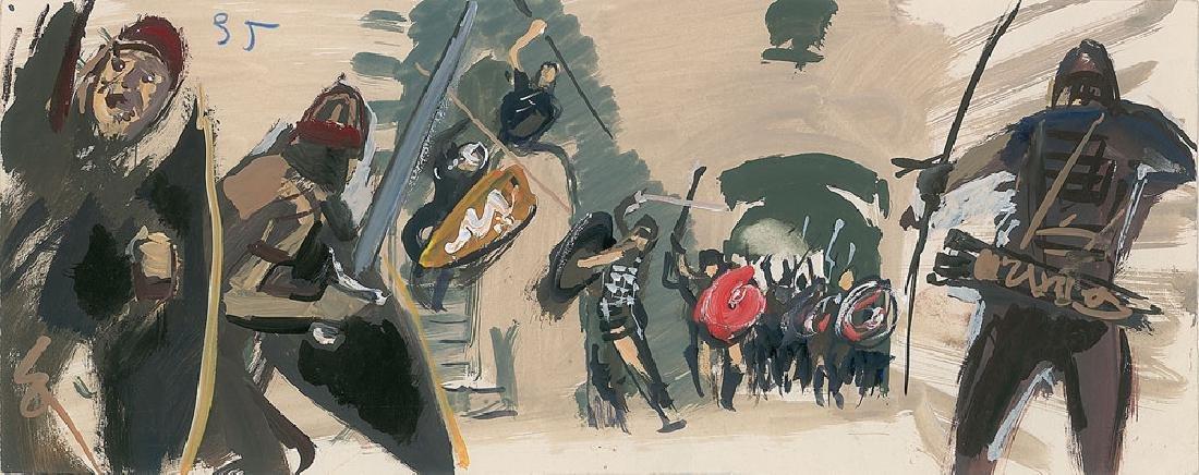 The Vikings Production Art Storyboard Paintings