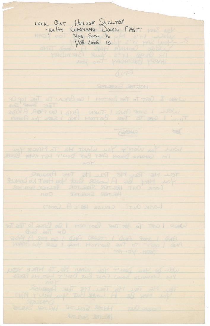 Mal Evans Handwritten Lyrics - 2