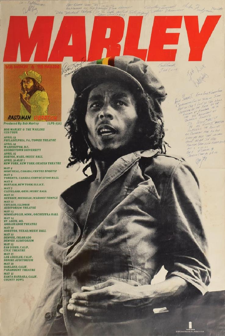 Bob Marley and The Wailers Signed 1976 Poster