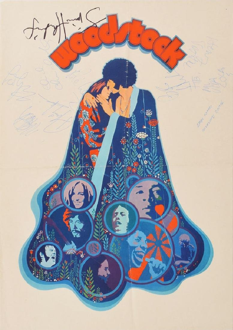 Jimi Hendrix, Canned Heat, and Ten Years After Signed Woodstock Poster