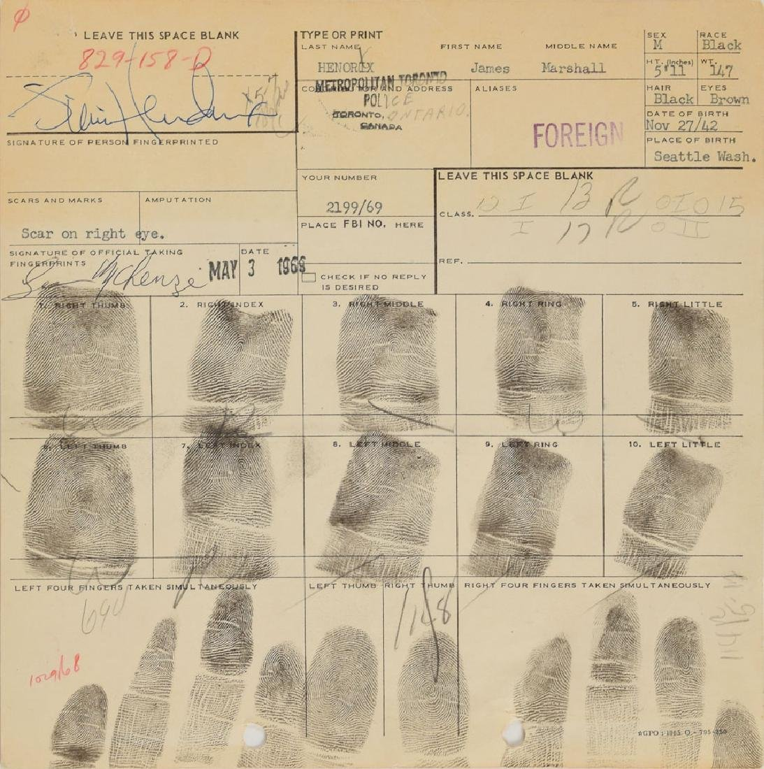 Jimi Hendrix Signed 1969 Toronto Arrest Fingerprint Card