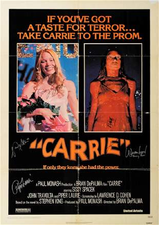 Carrie Cast and Stephen King Signed Poster
