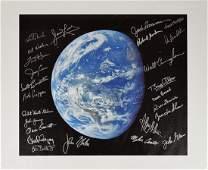 Astronauts Multi-Signed Earth Print