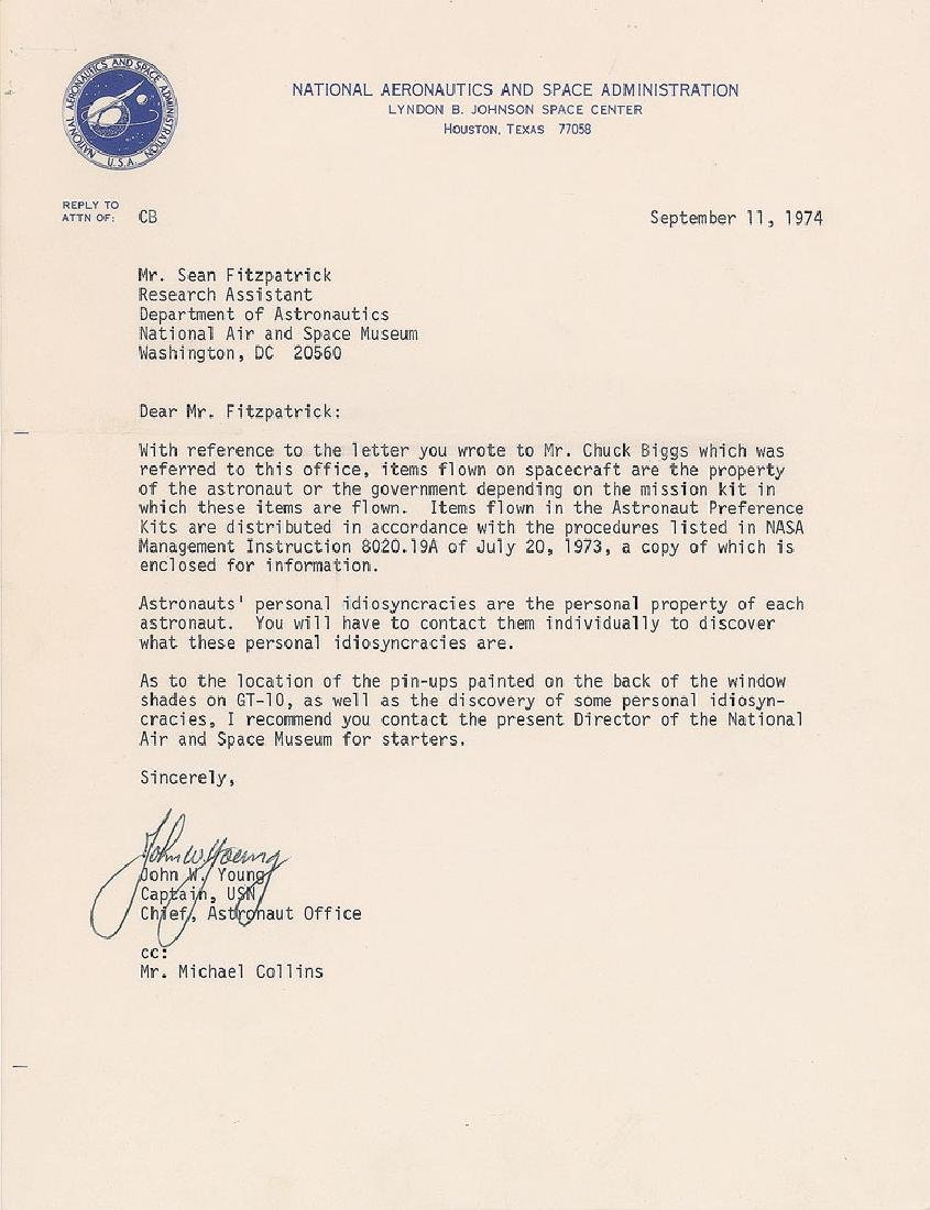 John Young 1974 Typed Letter Signed
