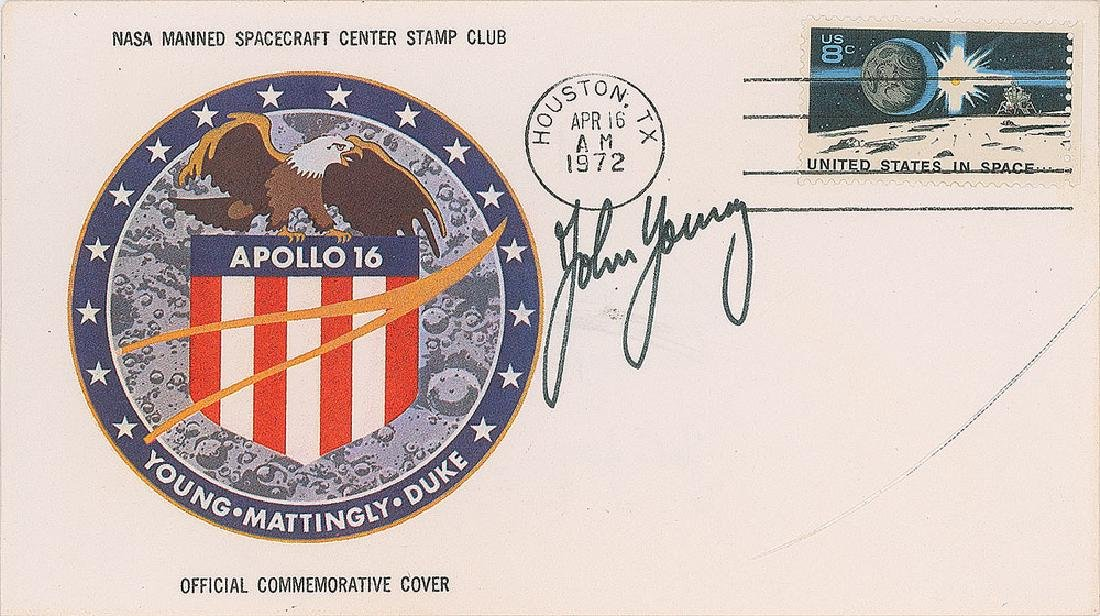 John Young Signed Apollo 16 Insurance Cover