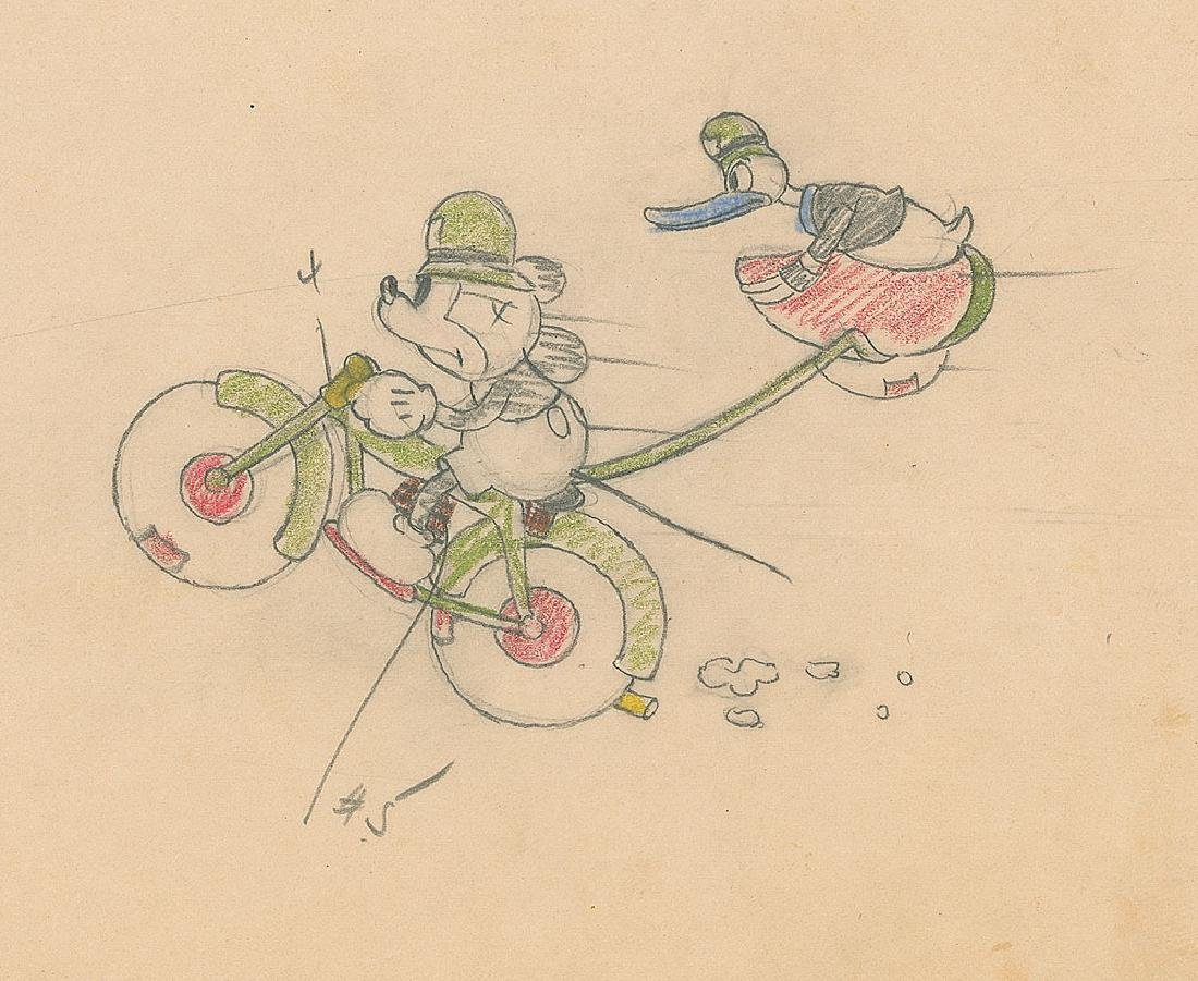 Mickey Mouse and Donald Duck Production Drawing from