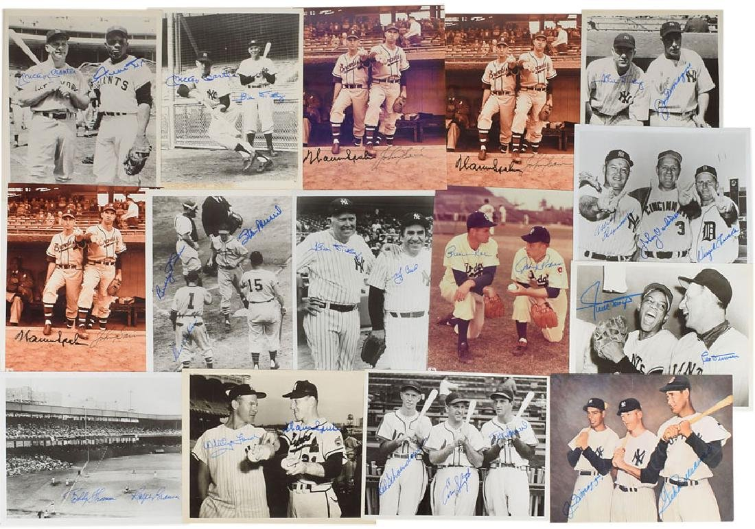 Baseball Legends Group of (15) Multi-Signed Photographs
