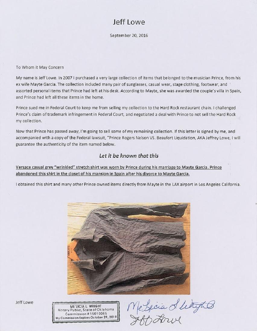 Prince's Personally-Worn Gray Versace Shirt - 2