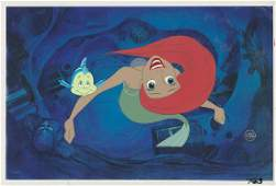 Ariel and Flounder production cels from The Little