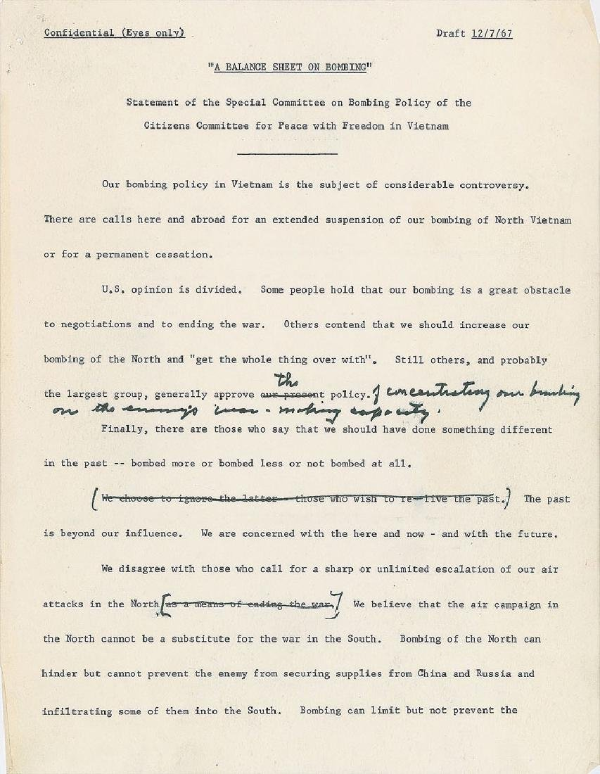Dwight D. Eisenhower Hand-Edited 'Balance Sheet on - 2