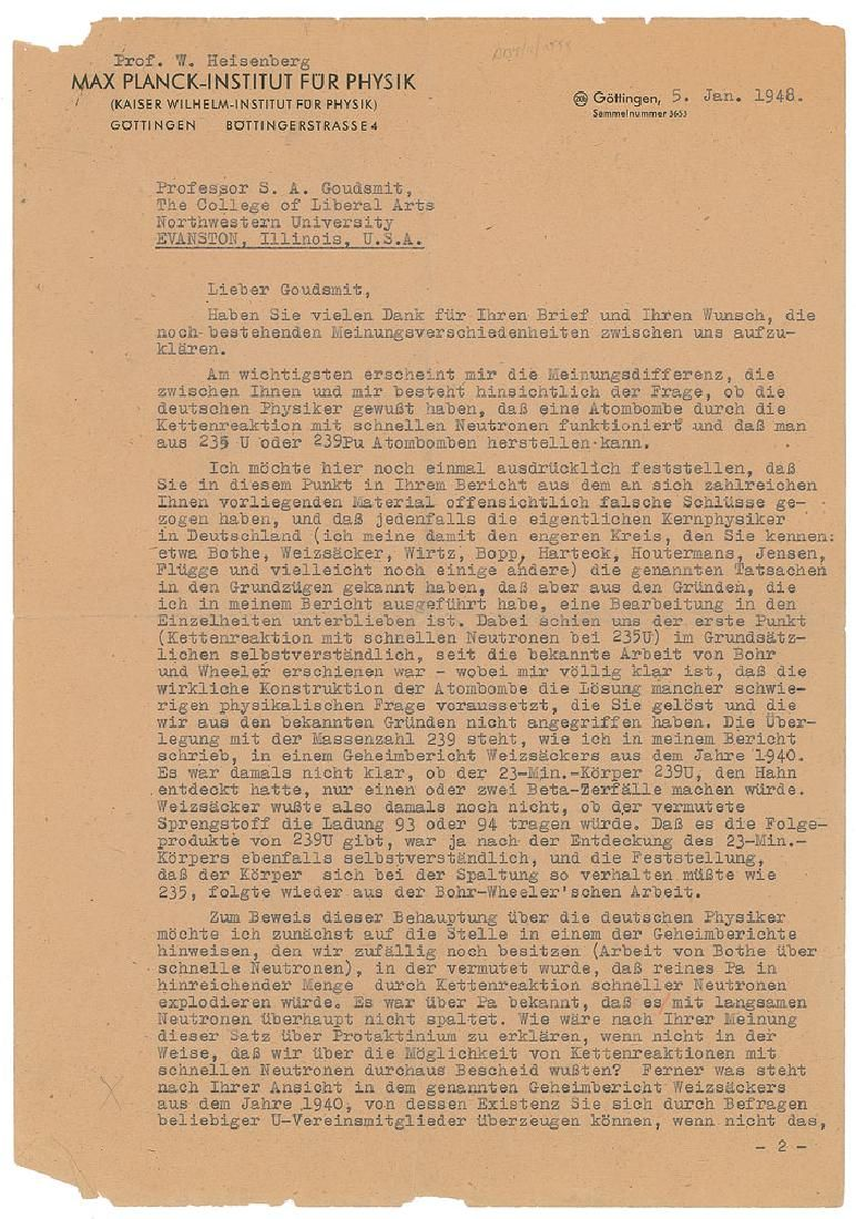 Werner Heisenberg Typed Letter Signed with Hand-Drawn