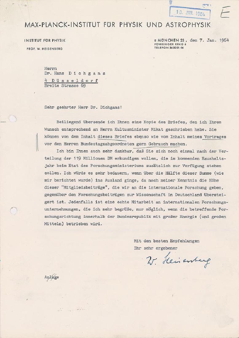 Werner Heisenberg Typed Letter Signed