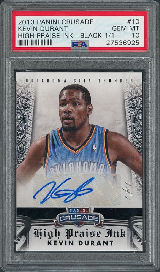 wholesale dealer 6d697 92cd1 Kevin Durant 2013 Panini Crusade 1/1 Signed Basketball