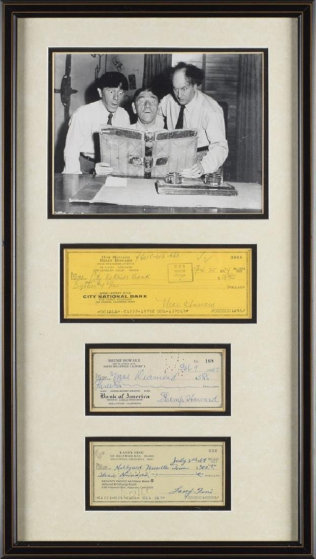 Three Stooges Group of (3) Signed Checks