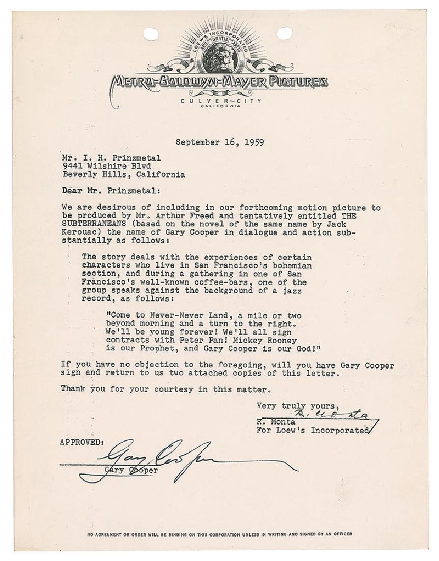 Gary Cooper Signed Document