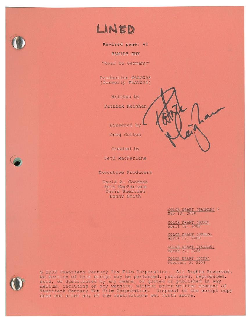 Family Guy Script Signed by Patrick Meighan