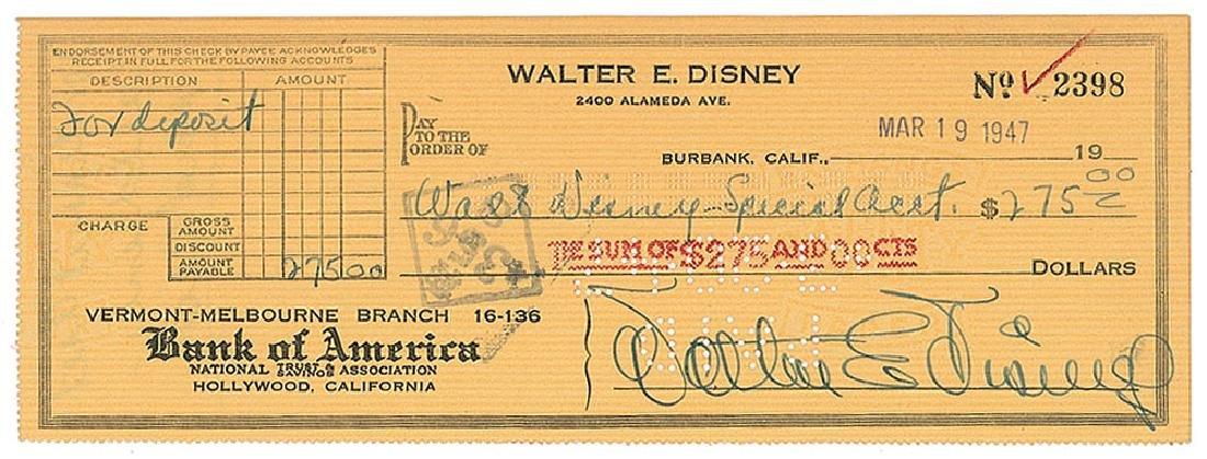 Walt Disney Signed Check
