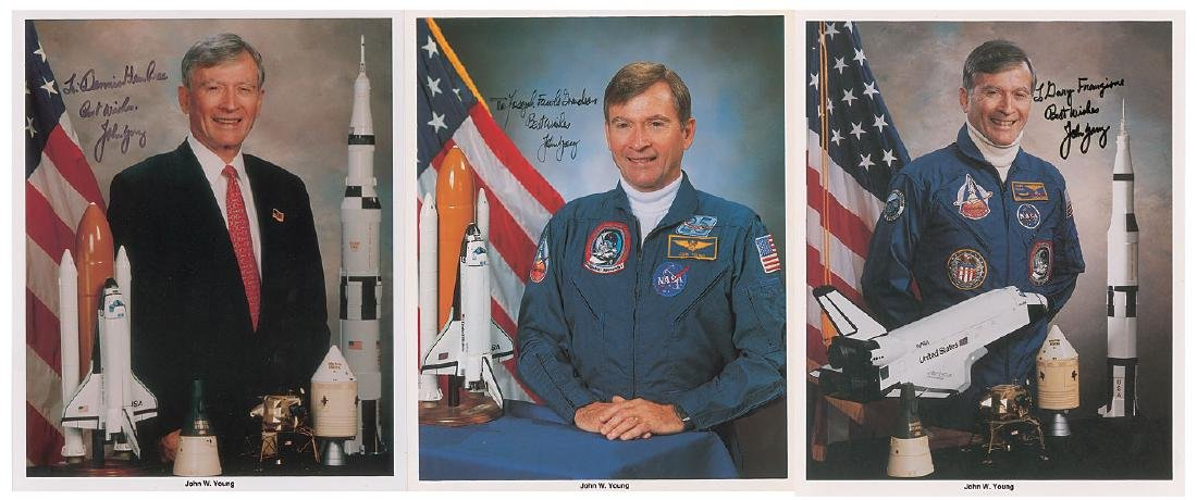 John Young Group of (3) Signed Photographs