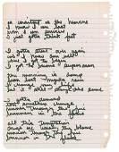 Dee Dee Ramone's Handwritten Lyrics to 'Consistent as