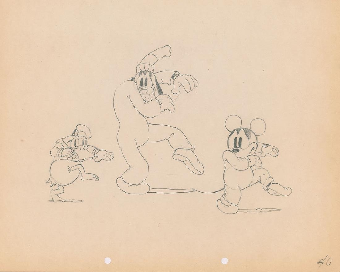 Mickey Mouse, Donald Duck, and Goofy production drawing