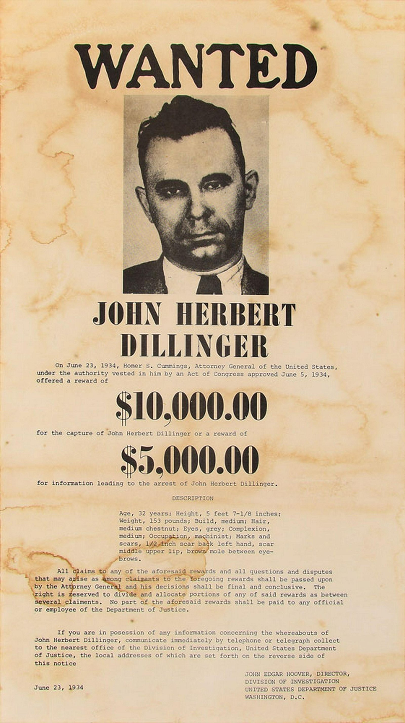 John Dillinger Wanted Posters