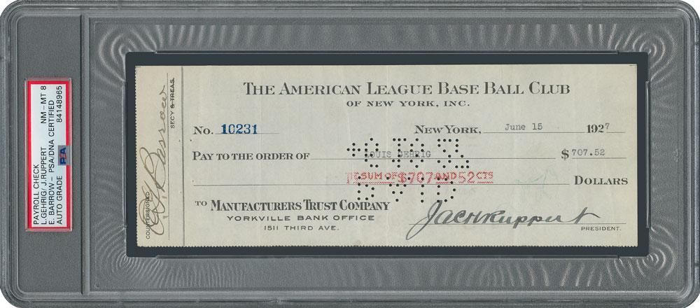 Lou Gehrig Signed 1927 New York Yankees Payroll Check -