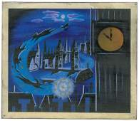 Mary Blair concept painting of Peter Pan, John, Wendy,