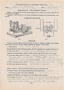 John F. Kennedy's 1935 Choate Physics Lab Handwritten
