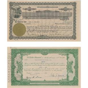 John F. Kennedy 1947 Signed Stock Certificate