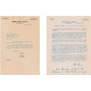 John F. Kennedy 1954 TLS and Statement on Senator
