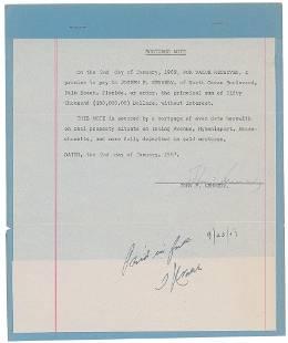 John F. Kennedy 1957 Hyannisport Signed Mortgage Note
