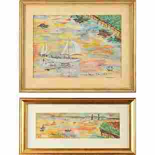 John F. Kennedy Pair of Original Watercolors