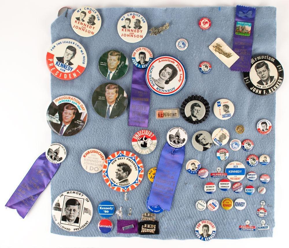John F. Kennedy Memorabilia Collection: Pins, Cards,