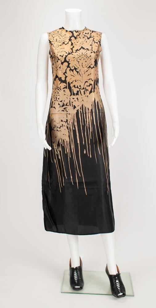 Well-documented black and gold sleeveless sheath