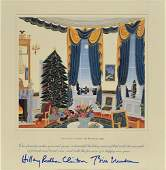 Bill and Hillary Clinton Signed Christmas Print