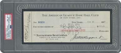 Lou Gehrig Signed 1927 NY Yankees Payroll Check -