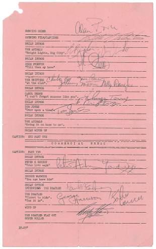 Beatles Signed Call Sheet