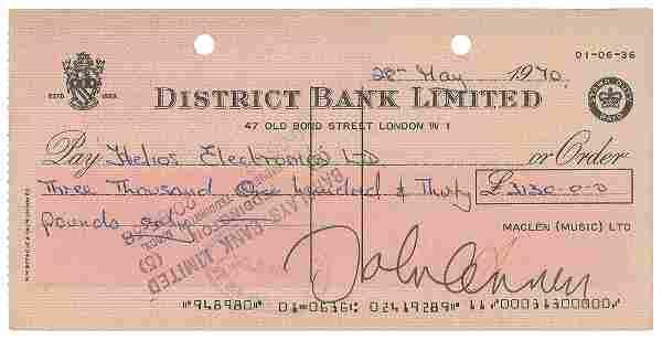 John Lennon Signed Check