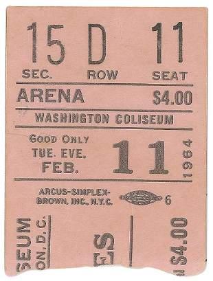 Beatles 1964 Washington Ticket Stub