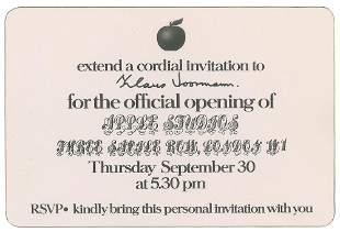 Klaus Voormann's 1971 Apple Studios Invitation