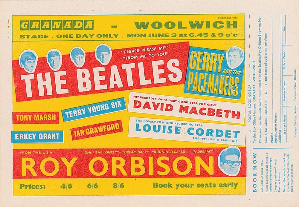 Beatles 1963 Granada Woolwich Handbill