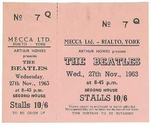 Beatles 1963 Rialto Theatre York Ticket