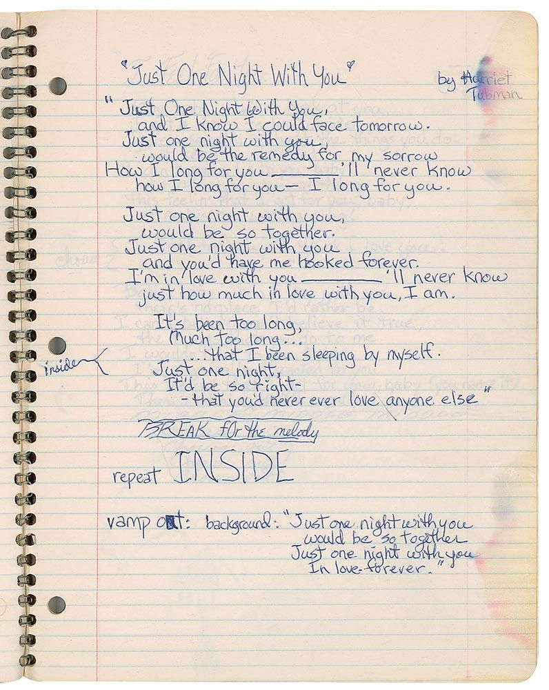 Prince's Handwritten Lyrics and Sketch Notebook