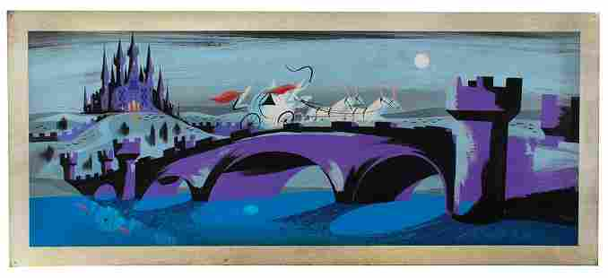 Mary Blair concept storyboard painting of Cinderella's