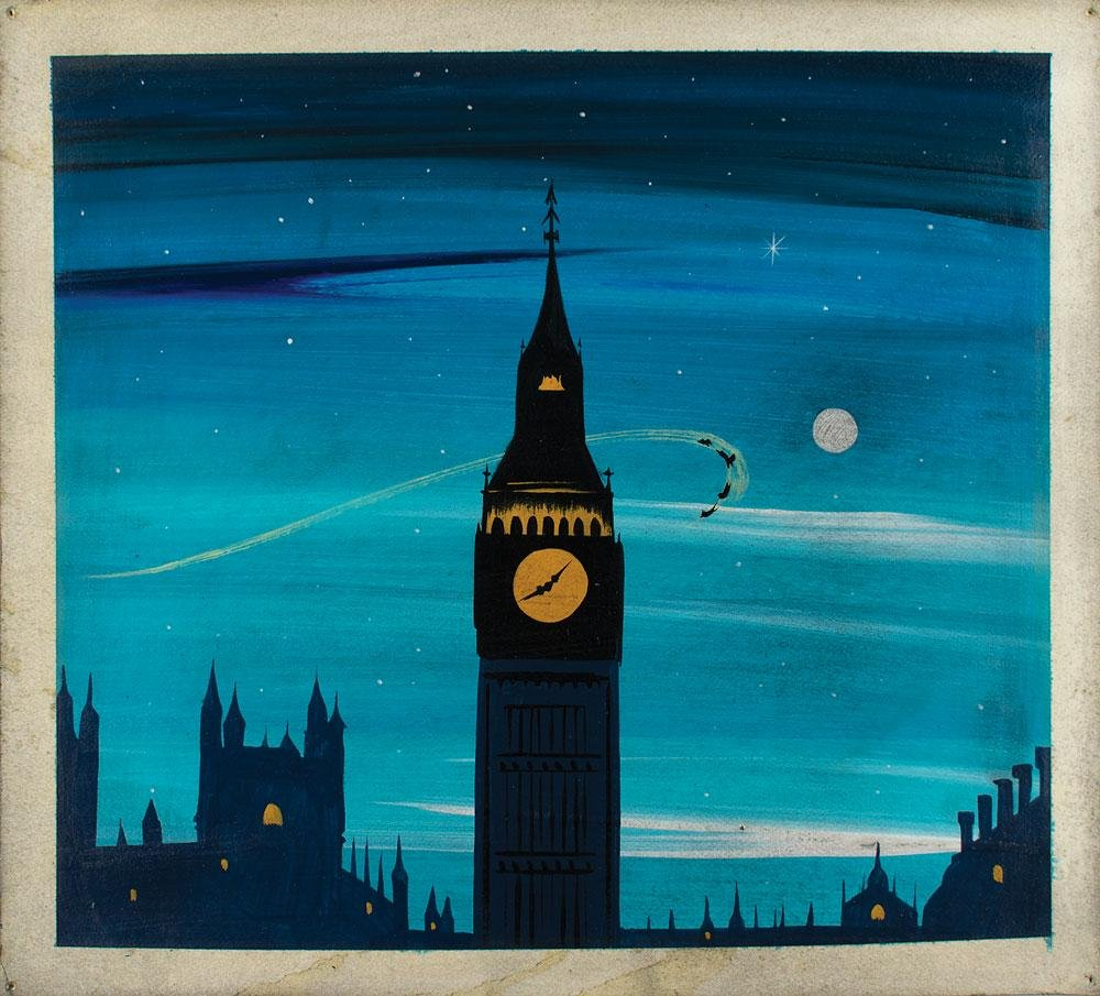 Mary Blair concept painting of Big Ben from Peter Pan